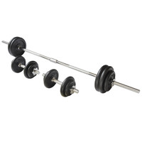 Viavito 50kg Black Cast Iron Barbell and Dumbbell Weight Set